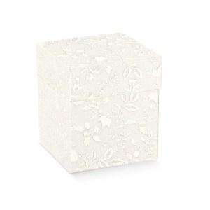 Scatola bomboniere pieghevole coperchio harmony bianco cm 12 x 12 x 6