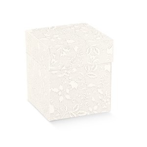 Scatola bomboniere pieghevole coperchio harmony bianco cm 12 x 12 x 9