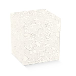 Scatola bomboniere pieghevole coperchio harmony bianco cm 14 x 14 x 11