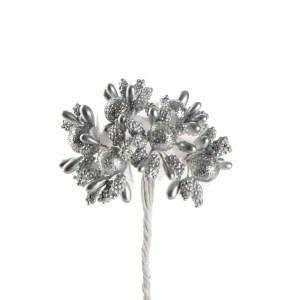 Fiore finto bomboniera argento