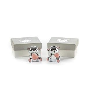 bomboniera orsetto silver rosa scatola