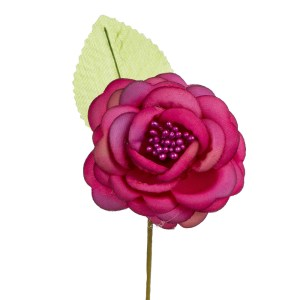 Fiore Bomboniera Rosa Aperta Con Foglia Fucsia (12 PZ)-0