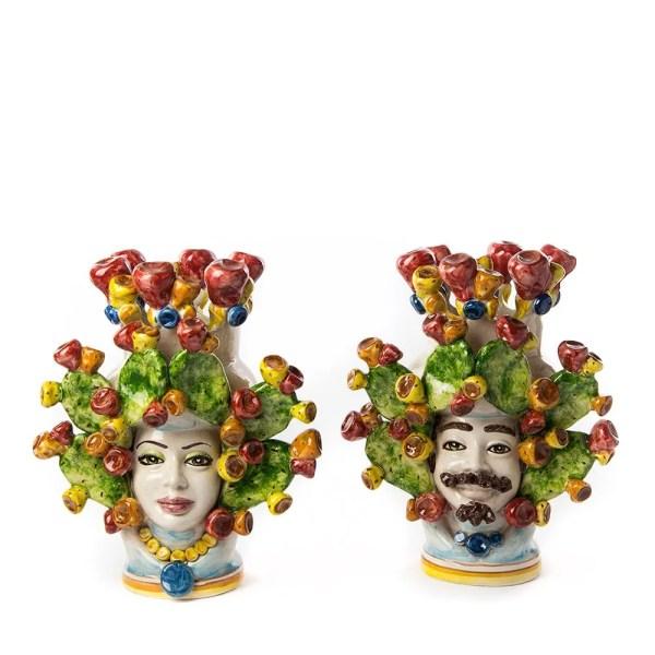 Testa di moro colorata ceramica di caltagirone h 30 cm-0