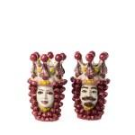 Ceramica di caltagirone teste di moro rosso h 30 cm-0