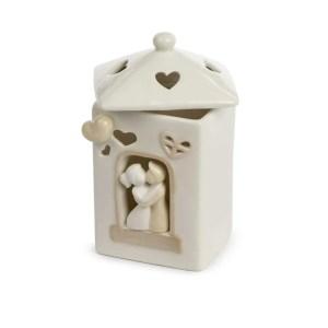 Bomboniera casetta in ceramica con coppia di innamorati grande con led-0
