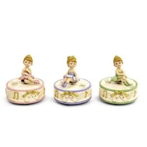 Bomboniera carillon con ballerina seduta in 3 colori assortiti (3pz)-0