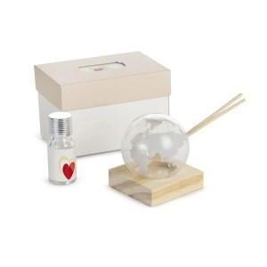 Bomboniera profumatore piccolo mappamondo grigio in vetro con scatola-0