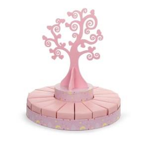 Torta bomboniere albero della vita rosa piccola (18 fette + albero)-0