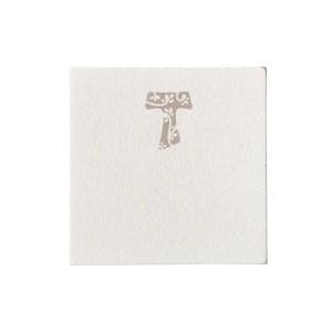 Targhetta Tau Grande Bianca Con Molletta 5,5 X 5,5 cm (144 PZ)-0