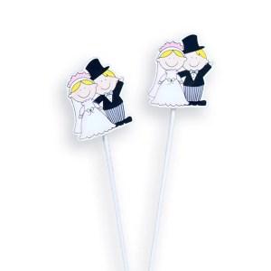 Addobbi matrimonio coppia sposini con pick CM 3X3 (6 pz)-0