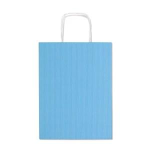Shopper in carta millerighe con fianco a pois di colore celeste H 41 cm (25 PEZZI)-0