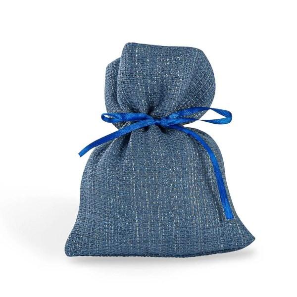 Sacchetto portaconfetti in cotone di colore blu