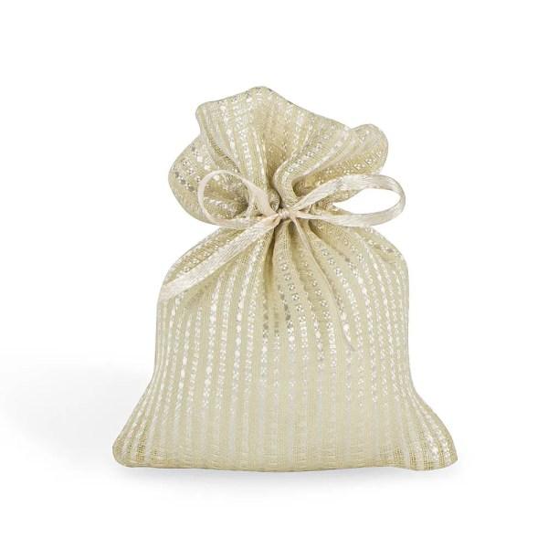 Sachetto per confetti mille righe di colore beige