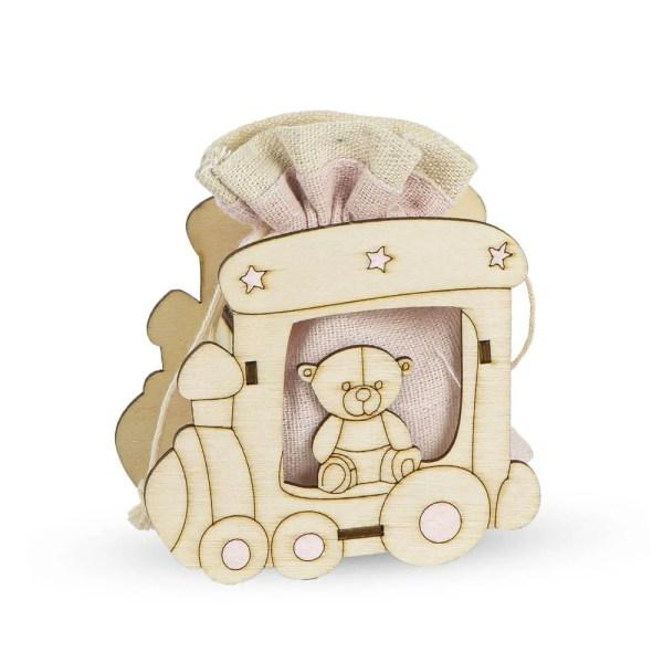 Bomboniera in legno Rosa con sacchetto portaconfetti