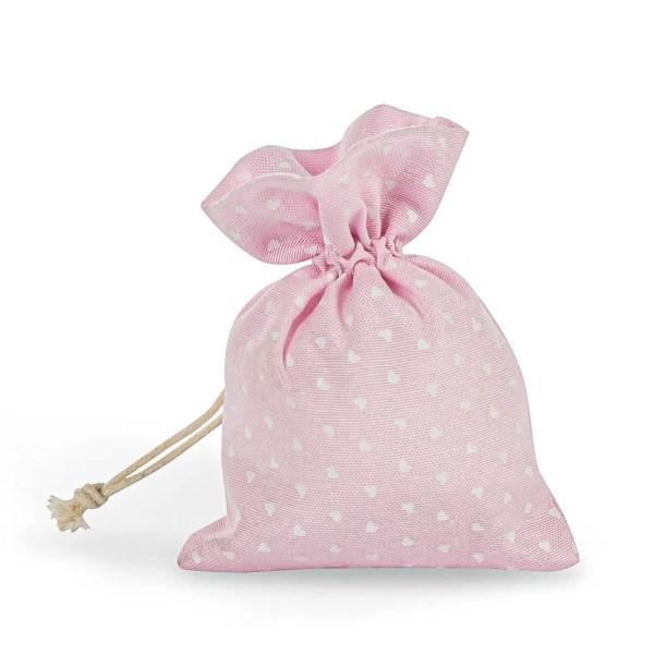 Sacchetto portaconfetti rosa con tirante e stampa cuori