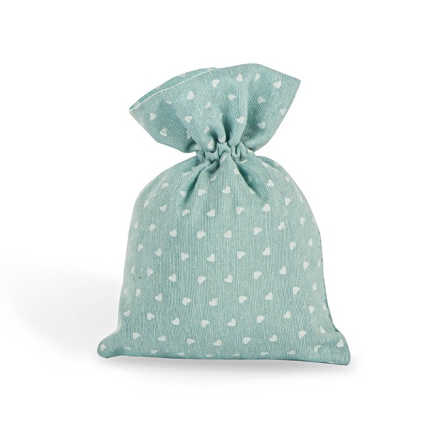 Sacchetto per confetti tiffany con tirante e stampa cuori