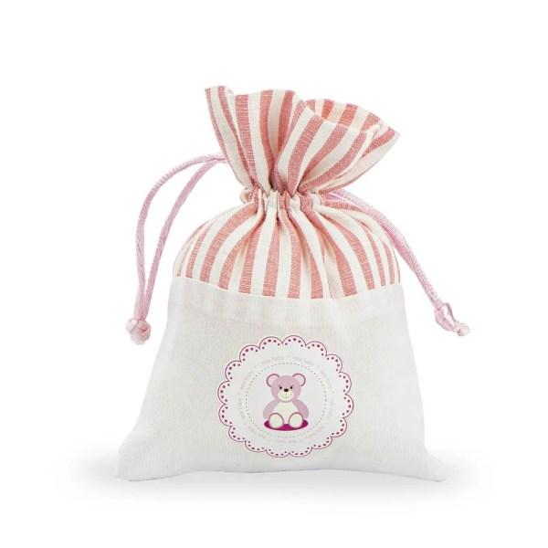 Sacchettino portaconfetti con orsetto rosa