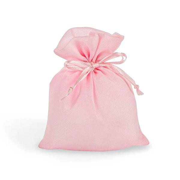Sacchetto per confetti rosa in organza e con tirante