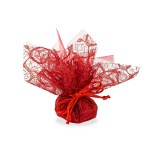 Centrino per confetti rosso con pizzo velo e tirante