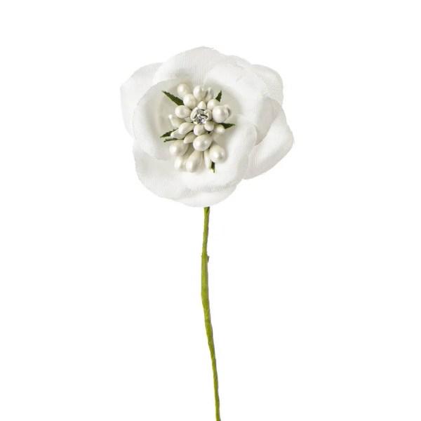 Applicazione fiore con perle e punto luce panna