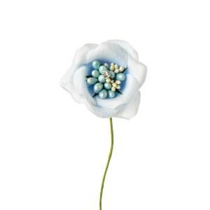 Applicazione bomboniera fiore con perla e punto luce celeste