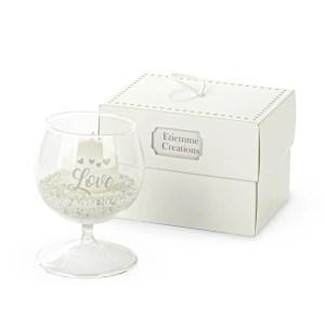 Bomboniera coppa portacandela Love in vetro piccola con scatola-0