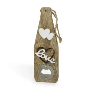 Bomboniera utile matrimonio, apribottiglie in legno linea love-0
