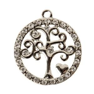 Applicazione albero della vita all'interno di cerchio con diamantini in zama.-0