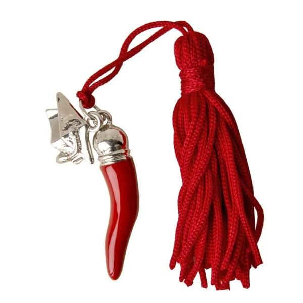 Bomboniera aoolicazione ciondolo corno Rosso con tocco laurea.-0