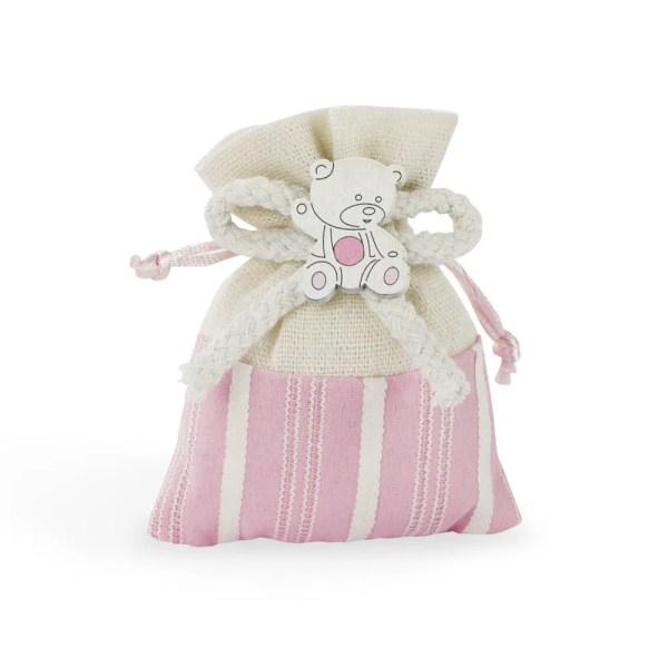 Portaconfetti panna e rosa con decoro orsetto-0