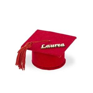 Cappello bomboniera laurea con scritta-0