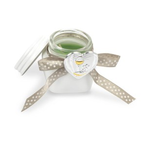 Barattolo con candela e placca comunione e scatola regalo