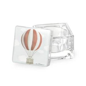 Scatola con coperchio in vetro mongolfiera Rosso con box