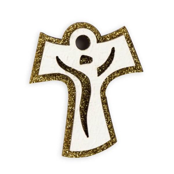 Magnete tao in legno di colore bianco e oro-0