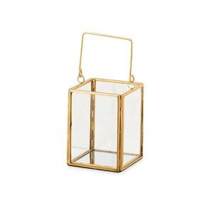 Bomboniera lanterna in metallo oro con manico piccola -0