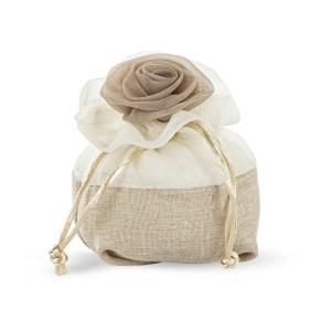 Portaconfetti sacchetto bomboniera rosa colore beige