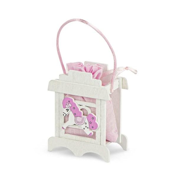 Scatola portaconfetti con sacchetto cavalluccio rosa