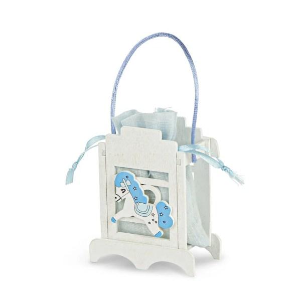 Portaconfetti bomboniera con sacchetto cavalluccio celeste