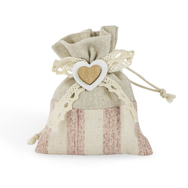 Portaconfetti con cuore in legno panna