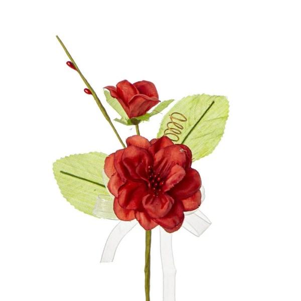 Bomboniera fiore nascente con due foglie colore rosso