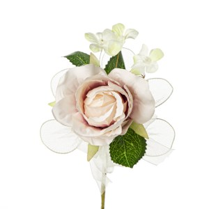 Bomboniera decorativa bocciolo di rosa con foglia rosa antico