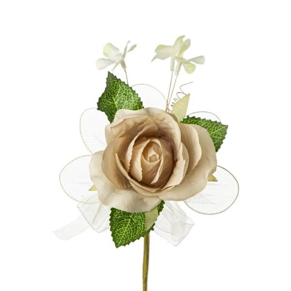 Bocciolo decorativo con foglia colore beige