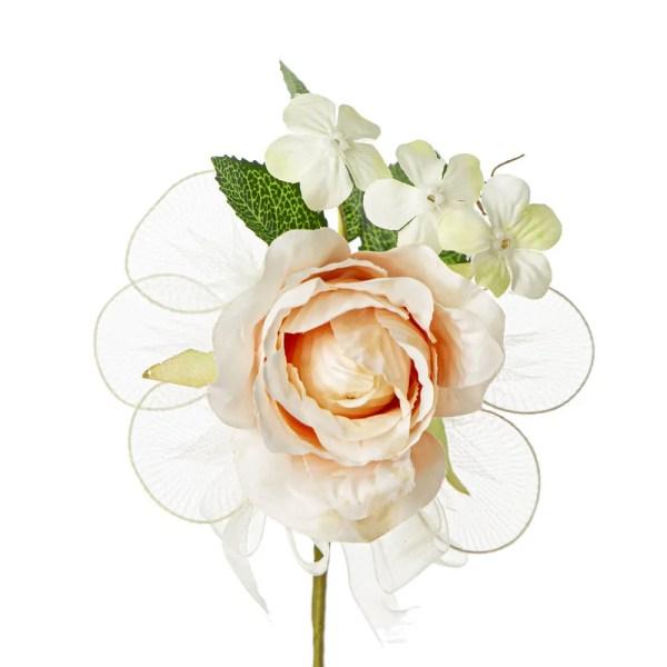 Fiore bomboniera bocciolo con foglia colore cipria