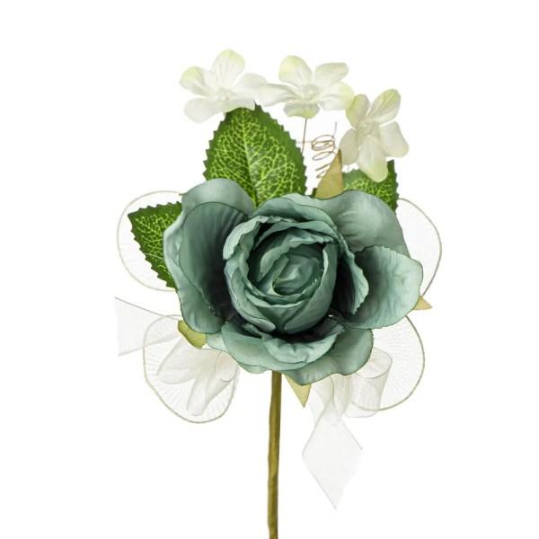 Applicazione fiore bocciolo rosa con foglia verde petrolio