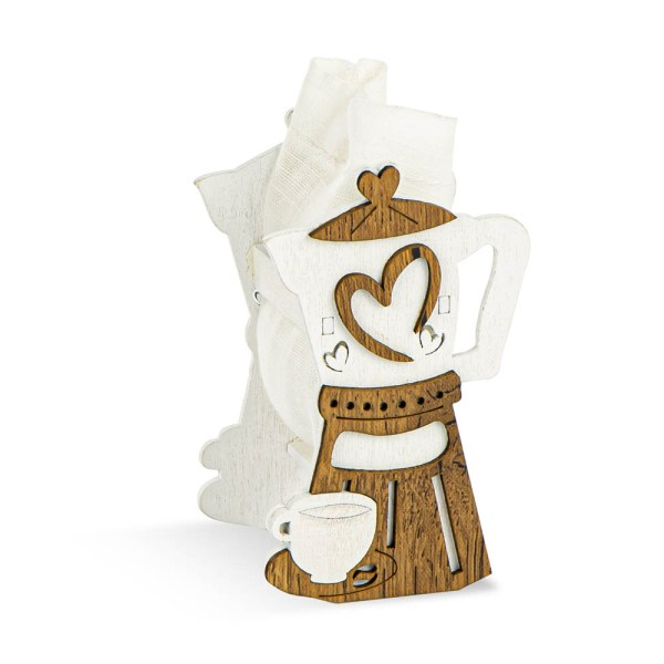 Bomboniera portaconfetti in legno sacchetto applicazione zuccheriera