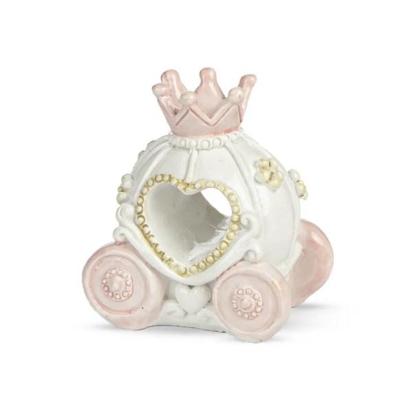 Carrozza bomboniera con corona in resina rosa