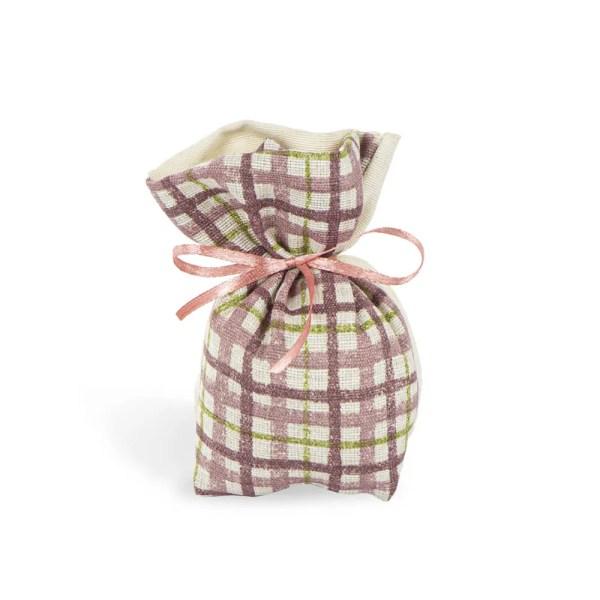 Sacchetto a quadretti piccolo senza nastro colore rosa made in italy