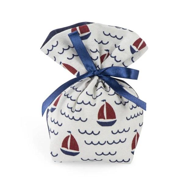 Portaconfetti in cotone con fantasia barca a vela