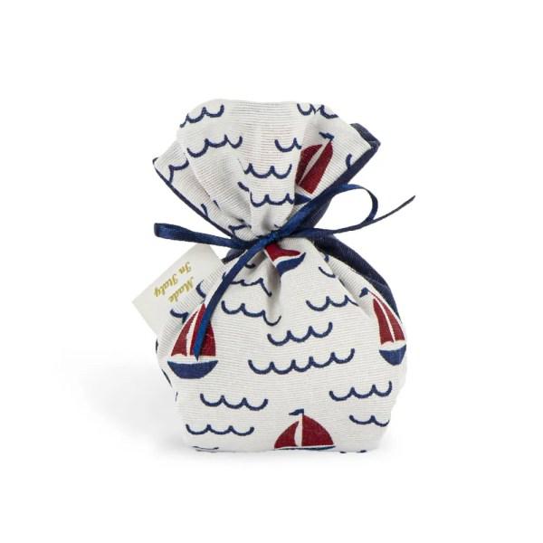 Sacchetto bomboniera piccolo in cotone con fantasia barca a vela