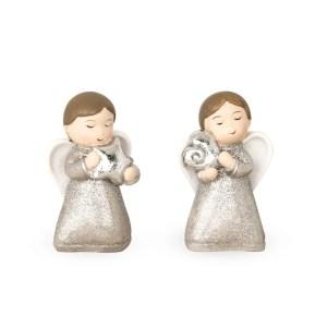 Angioletti in resina con cuori argento.-0